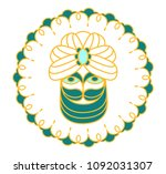 young green sultan in a turban. ...   Shutterstock .eps vector #1092031307