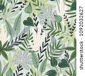 seamless pattern with tropical... | Shutterstock .eps vector #1092032627