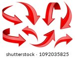 red shiny 3d arrows. bent... | Shutterstock .eps vector #1092035825