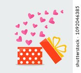 opened gift boxes with ribbon ... | Shutterstock .eps vector #1092046385