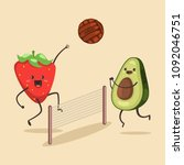 funny avocado and strawberry... | Shutterstock .eps vector #1092046751
