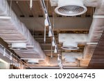 Small photo of Air duct/ Air conditioner pipe system flow and lighting in the department store.