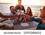 young people on yacht drinking... | Shutterstock . vector #1092088601