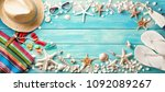 beach accessories with... | Shutterstock . vector #1092089267