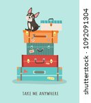 card with suitcases and a dog.... | Shutterstock .eps vector #1092091304