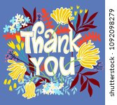 thank you card with lettering... | Shutterstock .eps vector #1092098279
