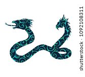 Serpent two headed pattern silhouette ancient mythology fantasy