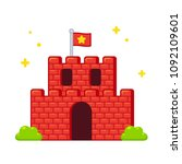 cartoon video game castle with... | Shutterstock .eps vector #1092109601