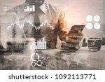 financial report data of... | Shutterstock . vector #1092113771