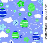 seamless pattern with easter... | Shutterstock .eps vector #1092115724
