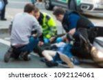 the paramedics and firemen... | Shutterstock . vector #1092124061