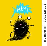 saying hey hello fluffy black... | Shutterstock .eps vector #1092128201