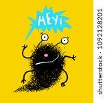 saying hey hello fluffy black... | Shutterstock .eps vector #1092128201