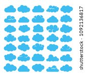 blue cartoon clouds isolated on ... | Shutterstock .eps vector #1092136817