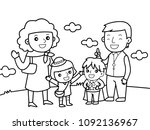 all family in a trip outdoor... | Shutterstock .eps vector #1092136967