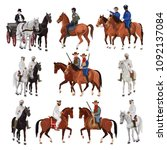 riders on horsebacks. set of... | Shutterstock .eps vector #1092137084