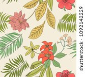 tropical print. flowers and... | Shutterstock .eps vector #1092142229
