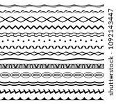 set of black seamless wavy... | Shutterstock .eps vector #1092143447