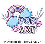 pop art cartoons | Shutterstock .eps vector #1092172337