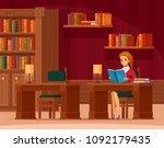 library reading room interior... | Shutterstock .eps vector #1092179435