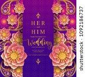 indian wedding invitation card...   Shutterstock .eps vector #1092186737
