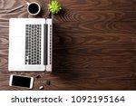 overhead shot of office desktop ... | Shutterstock . vector #1092195164