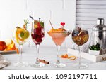 different alcoholic drink in... | Shutterstock . vector #1092197711