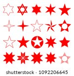 vector red stars set | Shutterstock .eps vector #1092206645
