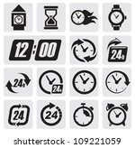 vector black clocks icons in... | Shutterstock .eps vector #109221059