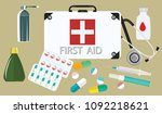 first aid kit   white suitcase  ... | Shutterstock .eps vector #1092218621