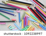 pastel crayons and pencils on... | Shutterstock . vector #1092238997