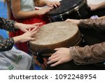 kids play jembe drum in a... | Shutterstock . vector #1092248954