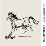 art sketch of running horse... | Shutterstock .eps vector #1092250847