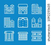 set of 9 apartments outline... | Shutterstock .eps vector #1092255635
