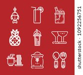 set of 9 food outline icons... | Shutterstock .eps vector #1092256751