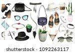 watercolor fashion illustration....   Shutterstock . vector #1092263117