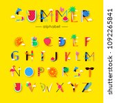 vector creative summer font and ... | Shutterstock .eps vector #1092265841