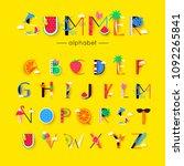 vector creative summer font and ... | Shutterstock .eps vector #1092265841