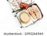 hand luggage with stylish... | Shutterstock . vector #1092266564