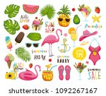 summer set with hand drawn... | Shutterstock .eps vector #1092267167