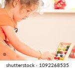 girl  learning at kindergarten... | Shutterstock . vector #1092268535