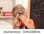 girl  learning at kindergarten... | Shutterstock . vector #1092268541