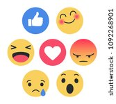 set of emoticon with flat... | Shutterstock .eps vector #1092268901