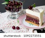 slice of mousse cake black... | Shutterstock . vector #1092273551