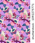 tropical colorful pattern with... | Shutterstock .eps vector #1092275771