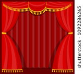 curtains with lambrequins on... | Shutterstock .eps vector #1092286265