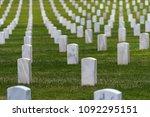 hundreds of white grave markers ...   Shutterstock . vector #1092295151