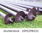 stack of screw piles for house...   Shutterstock . vector #1092298121