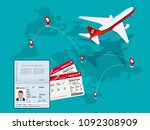 travel and tourism background.... | Shutterstock .eps vector #1092308909