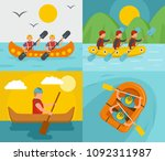 rafting kayak water canoe river ... | Shutterstock .eps vector #1092311987